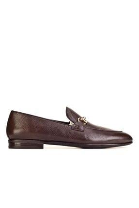 Cabani Toka Aksesuarlı Geyik Derisi Kaymaz Taban Loafer - Erkek Ayakkabı Kahve 1