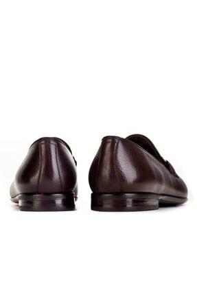 Cabani Toka Aksesuarlı Geyik Derisi Kaymaz Taban Loafer - Erkek Ayakkabı Kahve 3