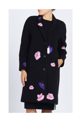 Christopher Kane Çiçek Detaylı Lacivert Palto 0