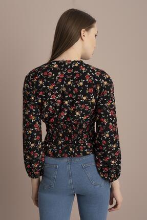 Tena Moda Kadın Siyah Kırmızı Çiçekli Örme Crep Gipeli Bluz 3