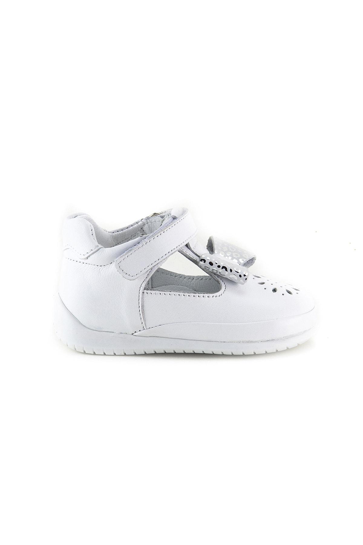 Kız Bebek Beyaz Deri Ortopedik Ilk Adım Ayakkabı
