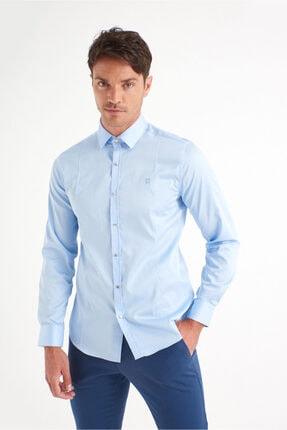 Avva Erkek Mavi Düz Klasik Yaka Slim Fit Gömlek B002217 3