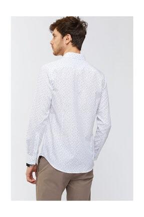 Avva Erkek Beyaz Baskılı Düğmeli Yaka Slim Fit Gömlek A91s2036 4