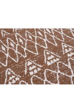 Caretta Home Kahverengi Beyaz Saçaklı Mistik Desenli Dokuma Kilim 4