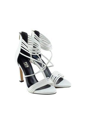 LuviShoes 115 Beyaz Cilt Kadın Topuklu Ayakkabı 1