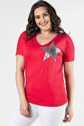 Womenice Büyük Beden Fuşya Önü Yıldız Pul Aplikeli Bluz 1