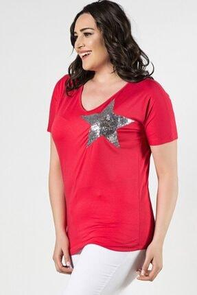 Womenice Büyük Beden Fuşya Önü Yıldız Pul Aplikeli Bluz 2
