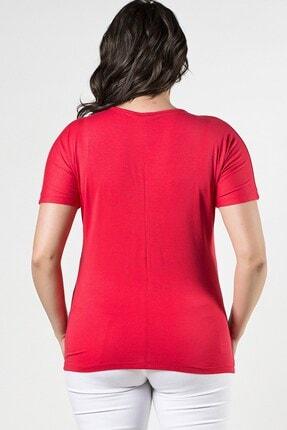 Womenice Büyük Beden Fuşya Önü Yıldız Pul Aplikeli Bluz 3