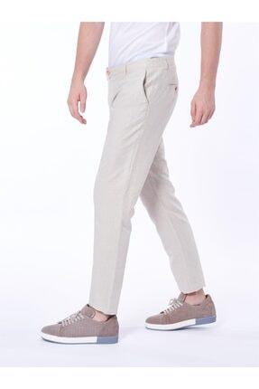 Dufy Bej Pamuklu Keten Erkek Pantolon - Slım Fıt 1