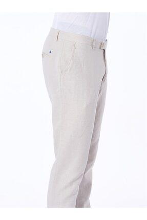 Dufy Bej Pamuklu Keten Erkek Pantolon - Slım Fıt 2