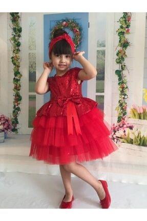 Buse&Eylül Bebe Kırmızı Pul Payet Kız Çocuk Elbisesi 1