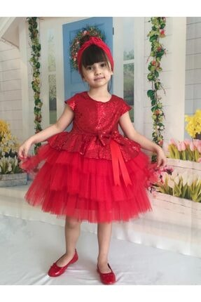 Buse&Eylül Bebe Kırmızı Pul Payet Kız Çocuk Elbisesi 2