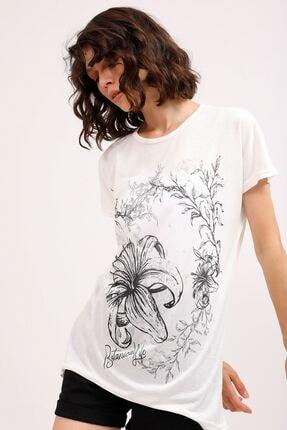 metropol tekstil Krt-066 Desenli Tshirt Krem 2