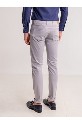Dufy Gri Pamuk Likra Karışımlı Erkek Pantolon - Modern Fit 2