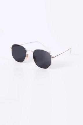 Kapin Altıgen Güneş Gözlüğü Gümüş Çerçeve Siyah Cam 0