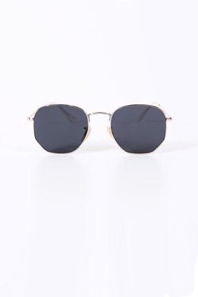 Kapin Altıgen Güneş Gözlüğü Gümüş Çerçeve Siyah Cam 1