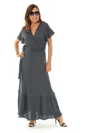 Picture of Amanda Büyük Beden Yarım Kol Maxi Elbise