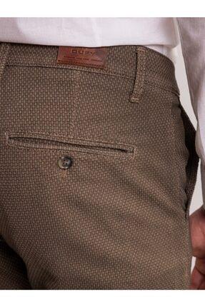 Dufy Toprak Armür Pamuk Likra Karışımlı Erkek Pantolon - Classic Fit 1