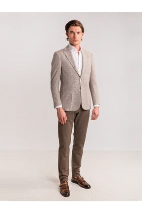 Dufy Toprak Armür Pamuk Likra Karışımlı Erkek Pantolon - Classic Fit 2