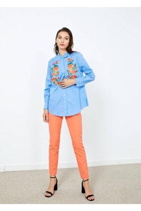 Adze Kadın Mavi Nakış Işlemeli Uzun Kol Gömlek Mavi L 1