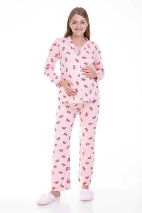 MYRA by LuvmaBelly Luvmabelly Myra9531 Düğmeli Biyeli Hamile Pijama Takımı - Pembe 0