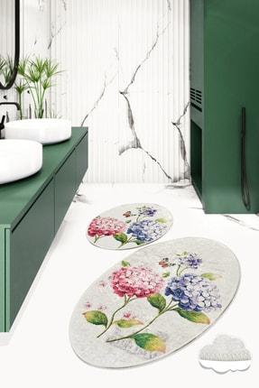 Chilai Home Ortanca Djt 2 Lı Set Banyo Halısı, Paspas 0
