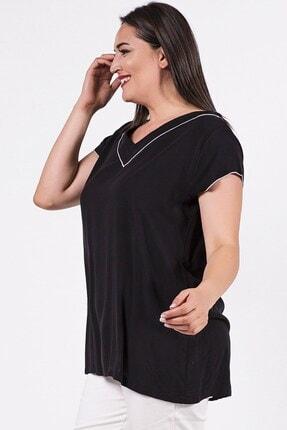 Womenice Büyük Beden Siyah Yakası Kolu Sufle Bluz 2