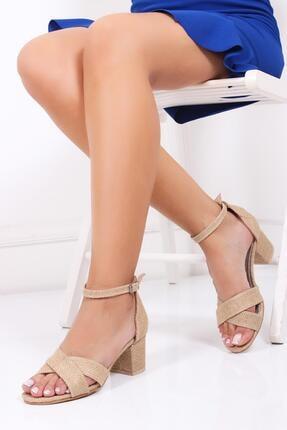 Deripabuc Hakiki Deri Hasır Deri Kadın Topuklu Hasır Sandalet Dp30-7063 0