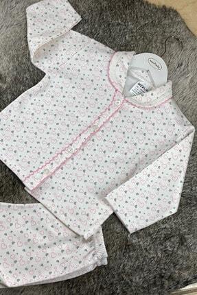 Miniel Sevgi Pıtırcığı Kalpli Kız Bebek Patiksiz Pijama Takımı 1