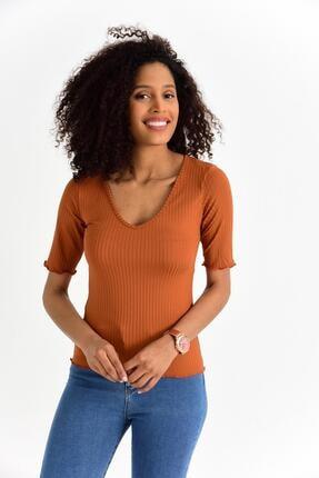 Tena Moda Kadın Kiremit V Yaka Mendil Dikiş Kaşkorse Tişört 4