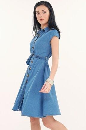 Fullamoda Kuşaklı Kot Elbise 3