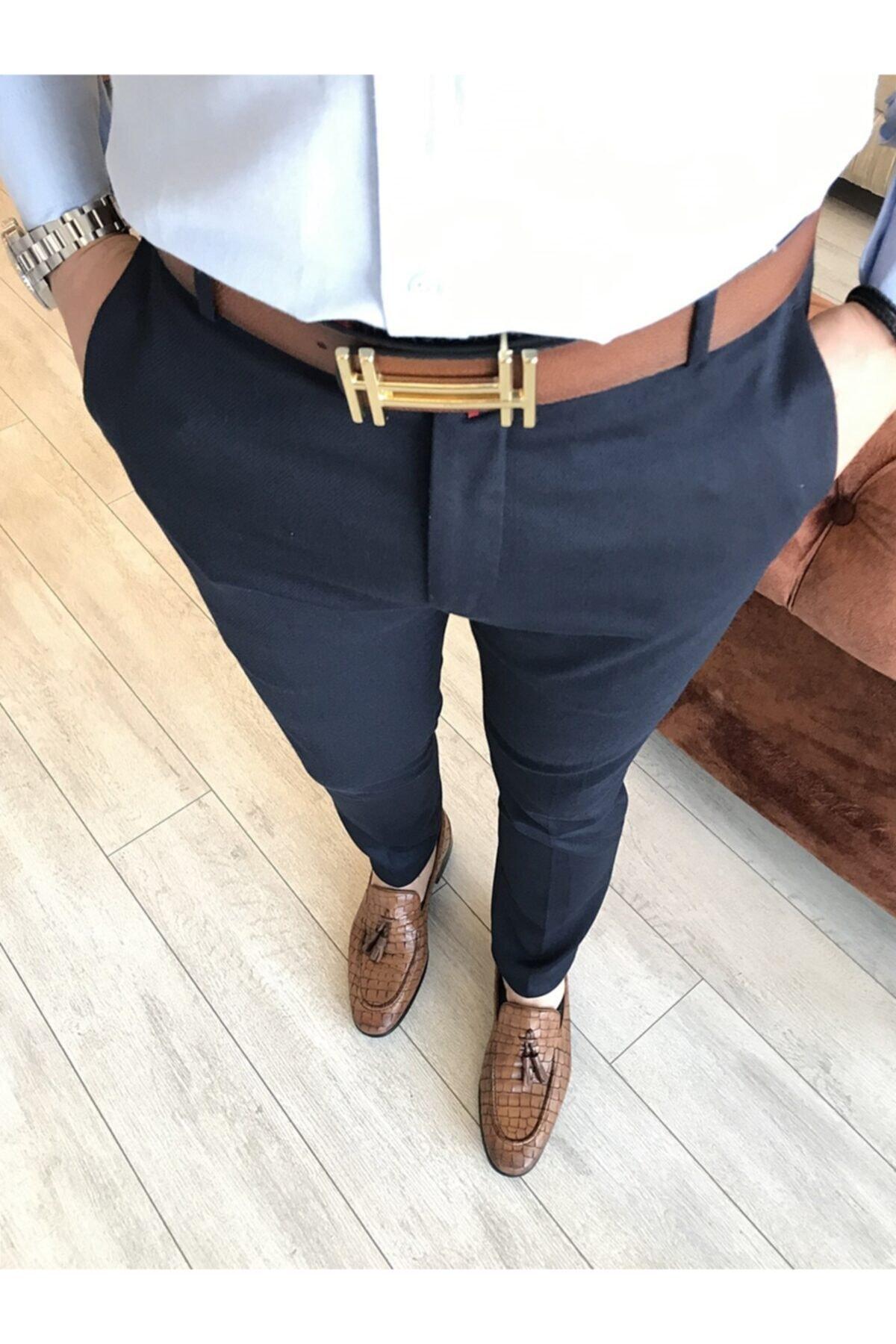 Italyan Kesim Slim Fit Lacivert Kumaş Pantolon T3486