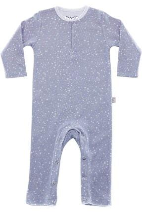 Boumini Unisex Bebek Mavi Uzun Kollu Çıtçıtlı Tulum Yıldız Tozu 1