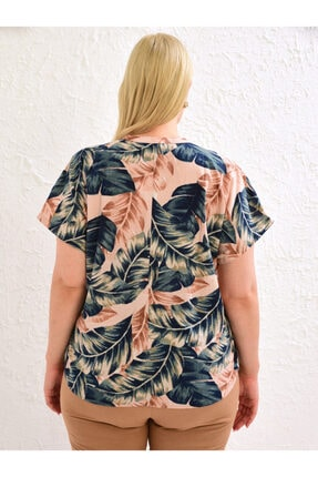 LC Waikiki Kadın Pembe Baskili  Gömlek 3