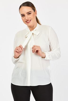PERA CLUB Büyük Beden Fular Özellikli Beyaz Gömlek 3