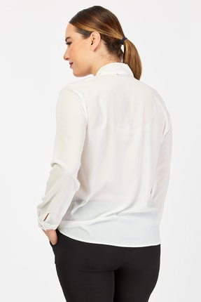 PERA CLUB Büyük Beden Fular Özellikli Beyaz Gömlek 4