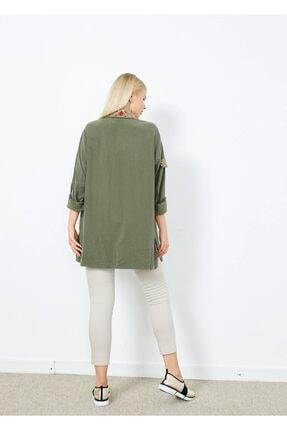 Adze Kadın Koyu Haki Cepli Işlemeli Gömlek Khaki L 2