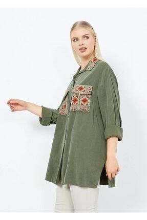 Adze Kadın Koyu Haki Cepli Işlemeli Gömlek Khaki L 3