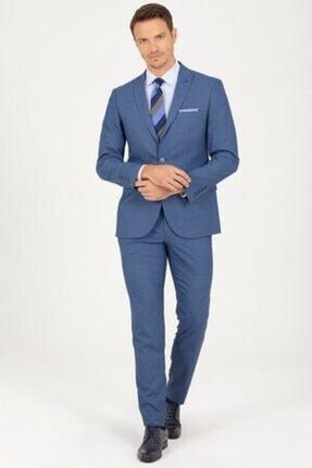 Erkek  Mavi Slim Fit Takım Elbise resmi
