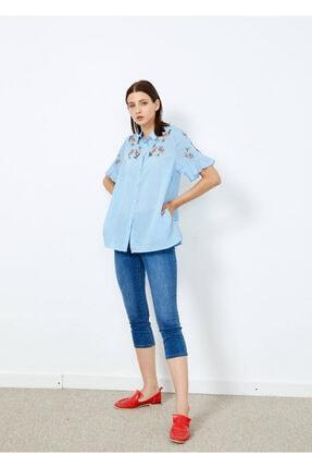 Adze Kadın Mavi Çizgili Çiçek Desenli Düğmeli Gömlek Mavi S 1