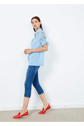 Adze Kadın Mavi Çizgili Çiçek Desenli Düğmeli Gömlek Mavi S 4