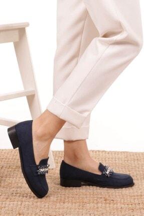 Mio Gusto Matilda Lacivert Süet Taşlı Oxford Ayakkabı 2