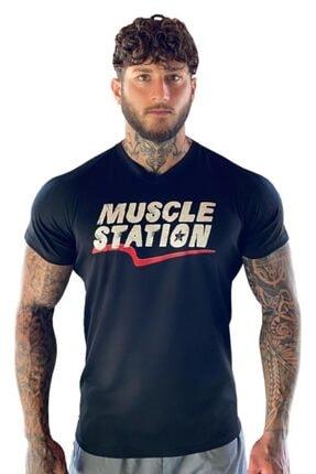 Muscle Station Musclestation Siyah Fitness Tshirt 0