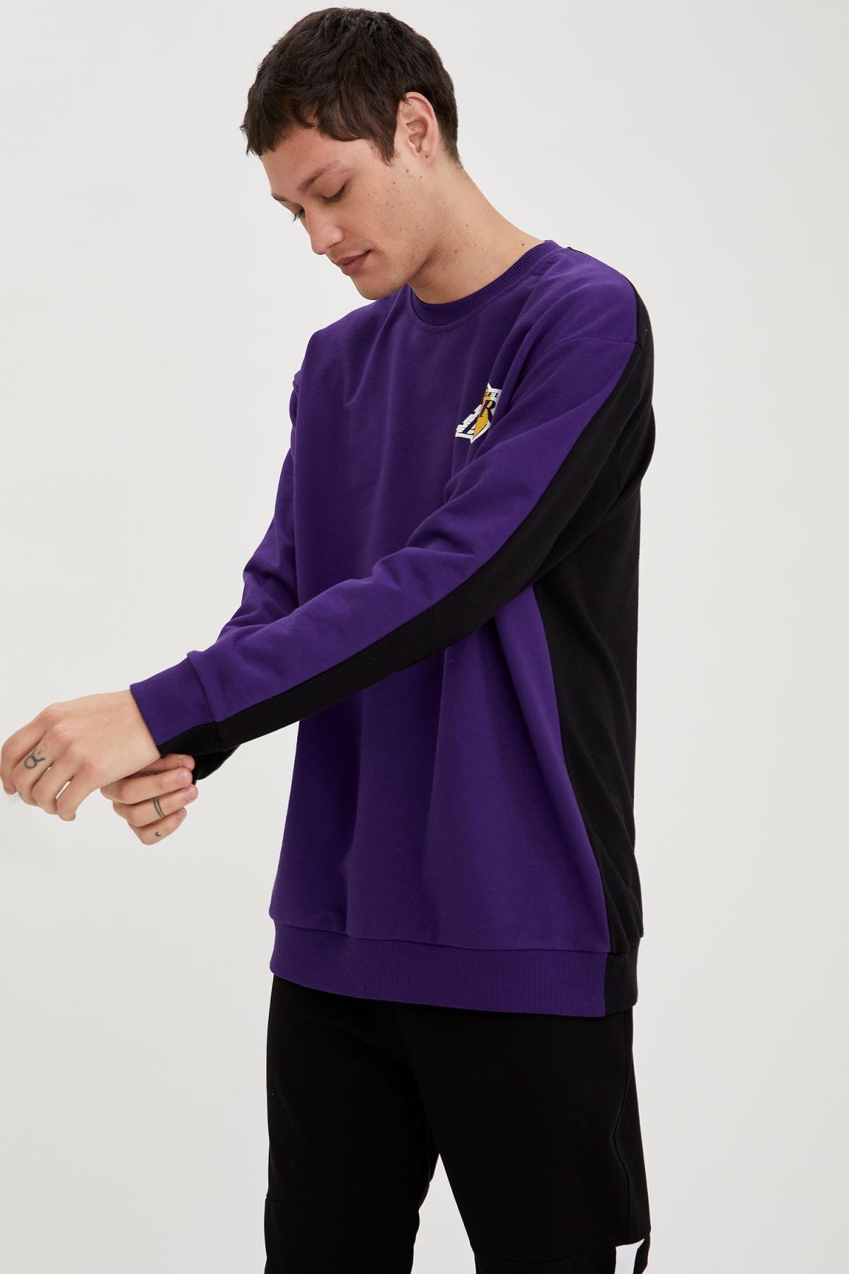 Defacto Erkek Dark Purple Nba Lisanslı Oversize Fit Unisex Bisiklet Yaka Sweatshirt S9213AZ21SP 4