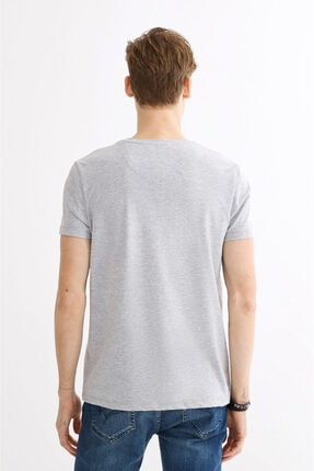 Avva Erkek Gri V Yaka Gofre Baskılı T-shirt A01y1024 2