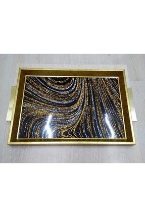 Zücev 44x31 Dikdörtgen Çizgi Desenli Altın Tepsi A16
