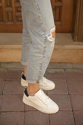 Straswans Papel Bayan Deri Spor Ayakkabı Beyaz-siyah 1