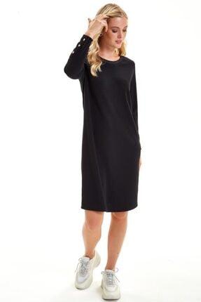İkiler Yakası Trikobantlı Kolu Çıtçıtlı Jorjet Elbise 201-2501 1