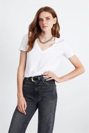 GRIMELANGE Paısley Kadın Beyaz V Yakalı Kısa Kollu T-shirt 3