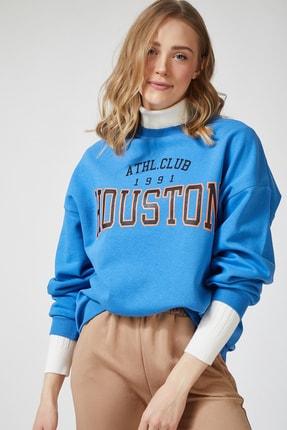 Happiness İst. Kadın Mavi Baskılı Polarlı Sweatshirt HF00169 1